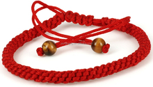 African Beads Jewelry Set Handmade Red String Bracelet with 2 Tiger Eye Bead