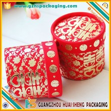 Recyclable Rigid Paper Cardboard Red Tube Boxes Packaging For Wedding Candy