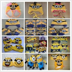 Hot sell ! 2013 new hand crocheted baby cartoon character minions beanie hats and caps for boys knit funny kids hat