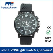 black alloy case water resisting silicone sports watch with japan movement