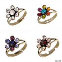 2015 Brass Plated Adjustable Gemstone Tiny Flower Rings Wholesale Jewelry