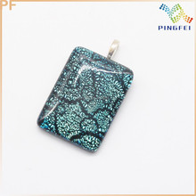 Rectangle Silver Foil Pendant, Lapwork Beads Pendant For Jewelry