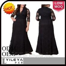 cordón de lujo elegante de alta calidad de gran tamaño las mujeres vestido vestido de noche