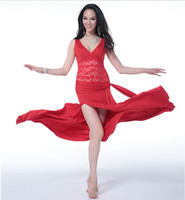 Wuchieal 2015 Newest Free Size Red Belly Dance Long Summer Dress For Lady