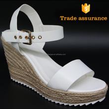 slip on pu leather hemp rope white wedge sandal