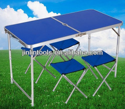 MAX 100KGS 2PCS Folding portable alumimum camping table+4 pcs chairs sets