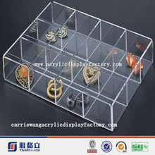 12 compartments high quality custom size clear acrylic makeup organizer box with custom logo
