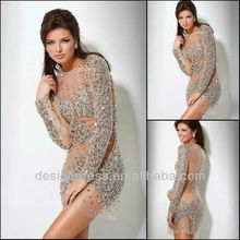 Big Promotion Retail/Wholesale Sexy Short Beaded Crystal Formal Long Sleeve Evening Dress 2013