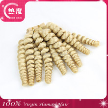 100% human hair blond jerry curl 100% curly european remy hair weft romance curl human hair