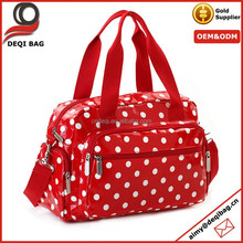 polka dots laminated canvas fashion handbag weekend bag