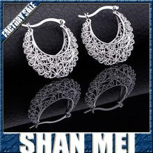 Women Gift Sale Fashion Jewelry silver Basket Wives Round Fancy Hoop Earrings