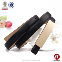 Women's fashion slim genuine leather belt with plate buckle