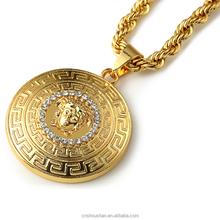 Men Hip Hop Rap 18K Gold Pendant Statement Long Necklace Chain Accessories Necklaces for Women Men Jewelry
