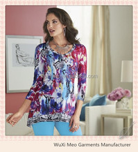 women's designs for fat ladies printed tailoring blouse