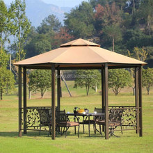 Octagonal Gazebo Firm Made of Metal and Fabric Tall Outdoor Furniture