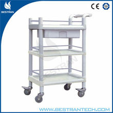 China BT-UY008 ABS plastic utility cart three layers medical trolley with drawer and wheels