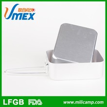 Military aluminum mess tin lunch box, square alumina folding handle mess tin for army, camping picnic lunch box