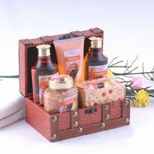 papaya bath gift set with shower gel ,shampoo,body lotionbath salt ,massage soap,wooden box-462114707
