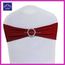 Burgundy Spandex Sash Band With Round Buckle For Wedding Banquet Chair Decoration
