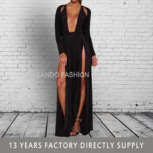 2015 new arrival maxi long simple elegant long sleeve evening dress