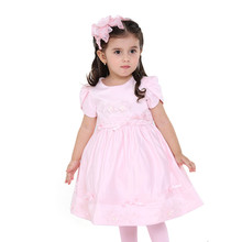 Wholesale Applique pink birthday dress for baby girl