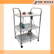 Large Capacity 3 Tiered White Wooden Food Trolley for Home