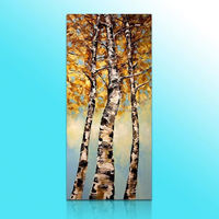 tree knife painting floral tree oil painting abstract wall decor tree canvas art