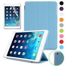 Hot Smart PU leather case cover for iPad mini with auto sleep feature case free gift