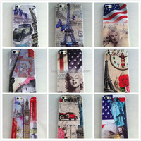 UK US Flag Statue Of Liberty Leaning Tower Of Pisa Eiffel Tower 3D Metal Plastic Hard Case For Apple iphone 5 iphone5 5S Cover
