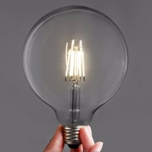 6.7-011 Bulk lot of edison style large round G125 6W filament LED light bulbs (3 or 6 pack)