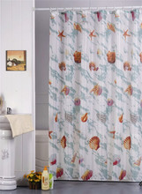 stock shell design printting 100% polyester shower curtain