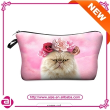 Digital 3D cat and rose printed toiletry bag