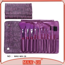 MAANGE 10 piece make order synthetic hair wood handle makeup kit with eyeshadow and blush with PU bag