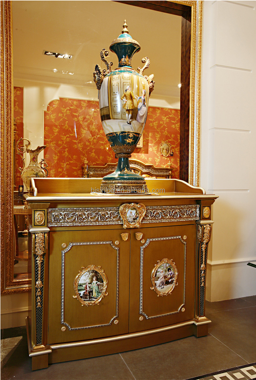 Luxury french louis xv style golden sideboard with mirror for Sideboard porta