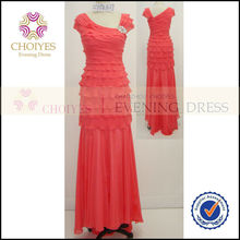 Cap sleeve coral merrowed border maxi long beautiful bridal dress