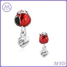 Fashion red metal dangle beads for European bracelets