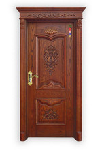 High quality exterior carved wood door with many kinds of material