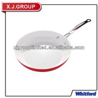 White ceramic aluminum cookware non-stick skillet