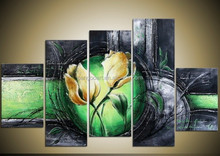 Flowers frame Stretched Canvas Oil Painting,daisies flower oil painting handmade heavy texture gray abstract flower oil painting