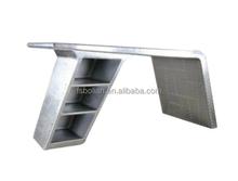 aluminum metal rivets wing aviator desk/ vintage aluminium desk