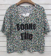 Impressão de algodão solto t shirt para as mulheres