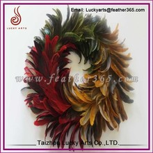 Taizhou Lucky Arts supply artifical colourful ostrich feather wreath