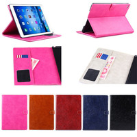shining Oil wax design leather wallet cover case for iPad air 2 with stand