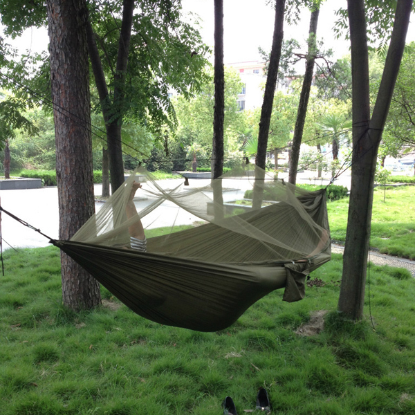 Jungle Camping armée moustiquaire hamac avec auvent