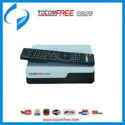 Original Tocomfree S929 Iptv twin tuner Nagra3 IKS SKS Digital box satellite internet receiver for South America
