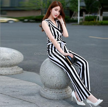 Z59792A fashion women jumsuits, latest casual white and black striped jumpsuits