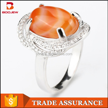 High quality jewelry orange stone 925 sterling silver wedding ring indonesia