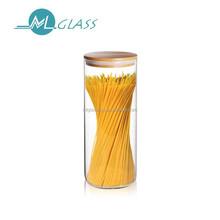 wholesale glass jar storage jar 1200ml capacity wooden lid man-blown heat resistant glassware N6453