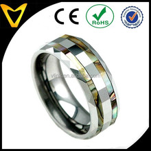 Hot Popular Fashion Jewelry In 2015 Tungsten Ring, 8mm Abalone Shell Inlay Faceted Shiny Top Tungsten Carbide Men's Wedding Band