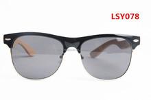 vintage half metal rim pc frame bamboo temples polarized sunglasses